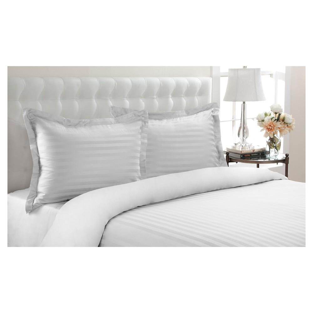 500tc Andiamo Stripe 100% Cotton Duvet Set (King) White