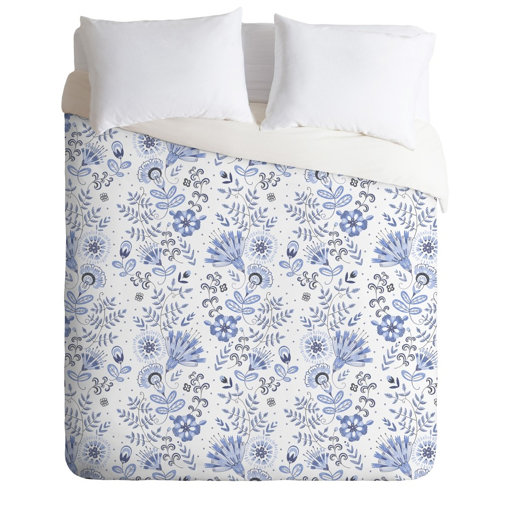 King Pimlada Phuapradit Floral Duvet Set Blue - Deny Designs