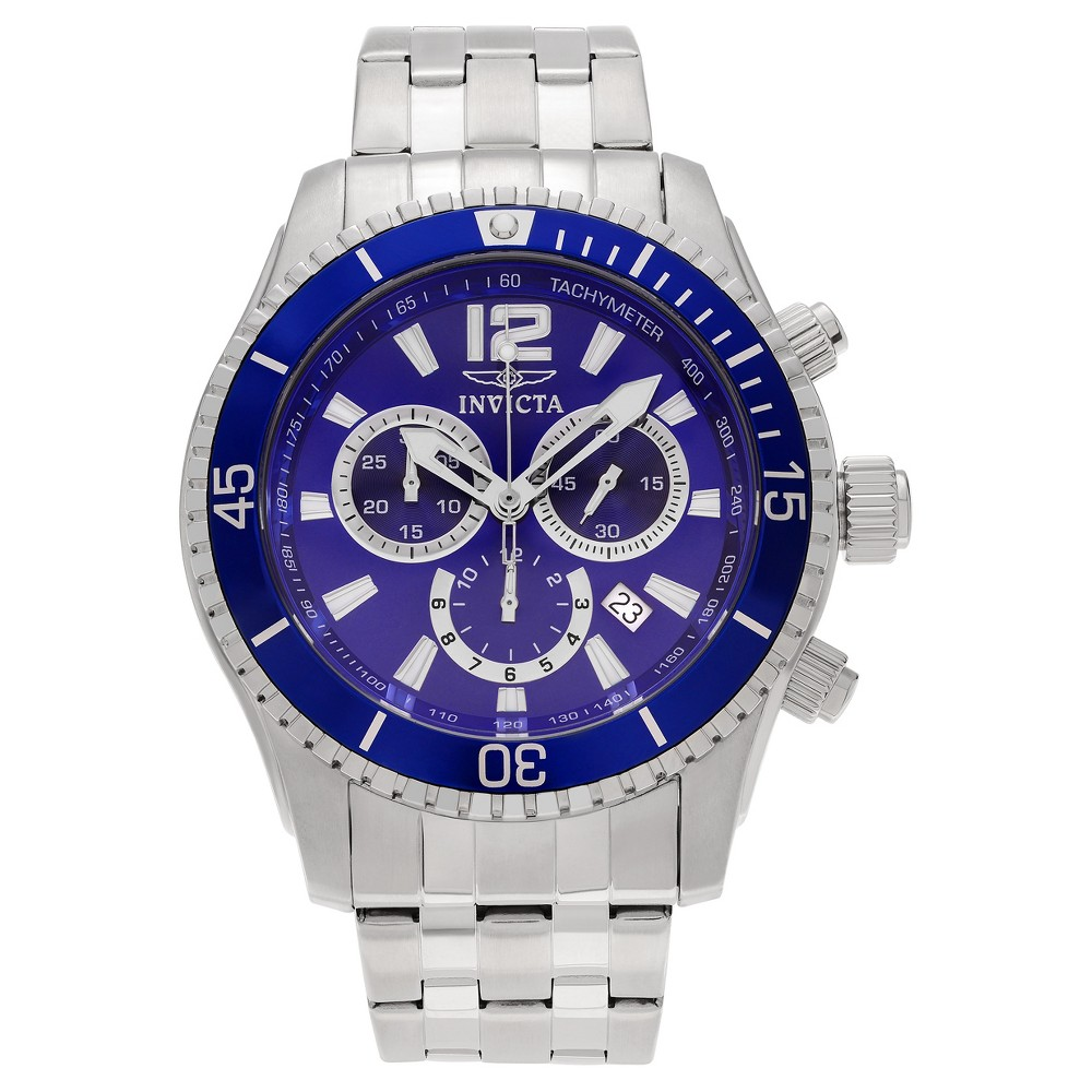 Men's Invicta 0620 Stainless Steel Chronograph Dial Link Bracelet Watch - Blue/Silver