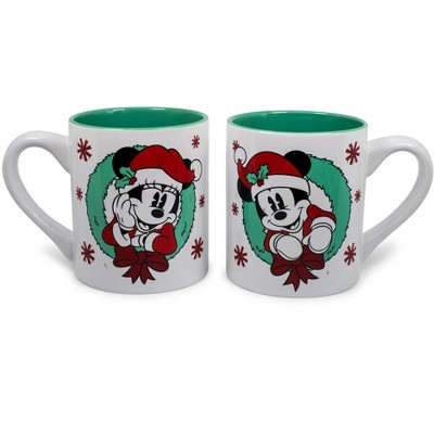Silver Buffalo Mickey and Minnie Mouse Holiday Mugs, Set of 2 | Each Holds 14 Ounces