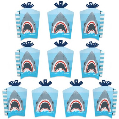 Big Dot of Happiness Shark Zone - Table Decorations - Jawsome Shark Party or Birthday Party Fold and Flare Centerpieces - 10 Count