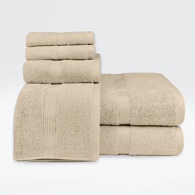 6pc Genesis Bath Towel Set Beige - Loft by Loftex