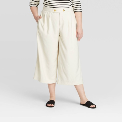 Women's Plus Size Mid-Rise Pleat Front Wide Leg Cropped Trouser - Who What Wear™ Off White - image 1 of 3