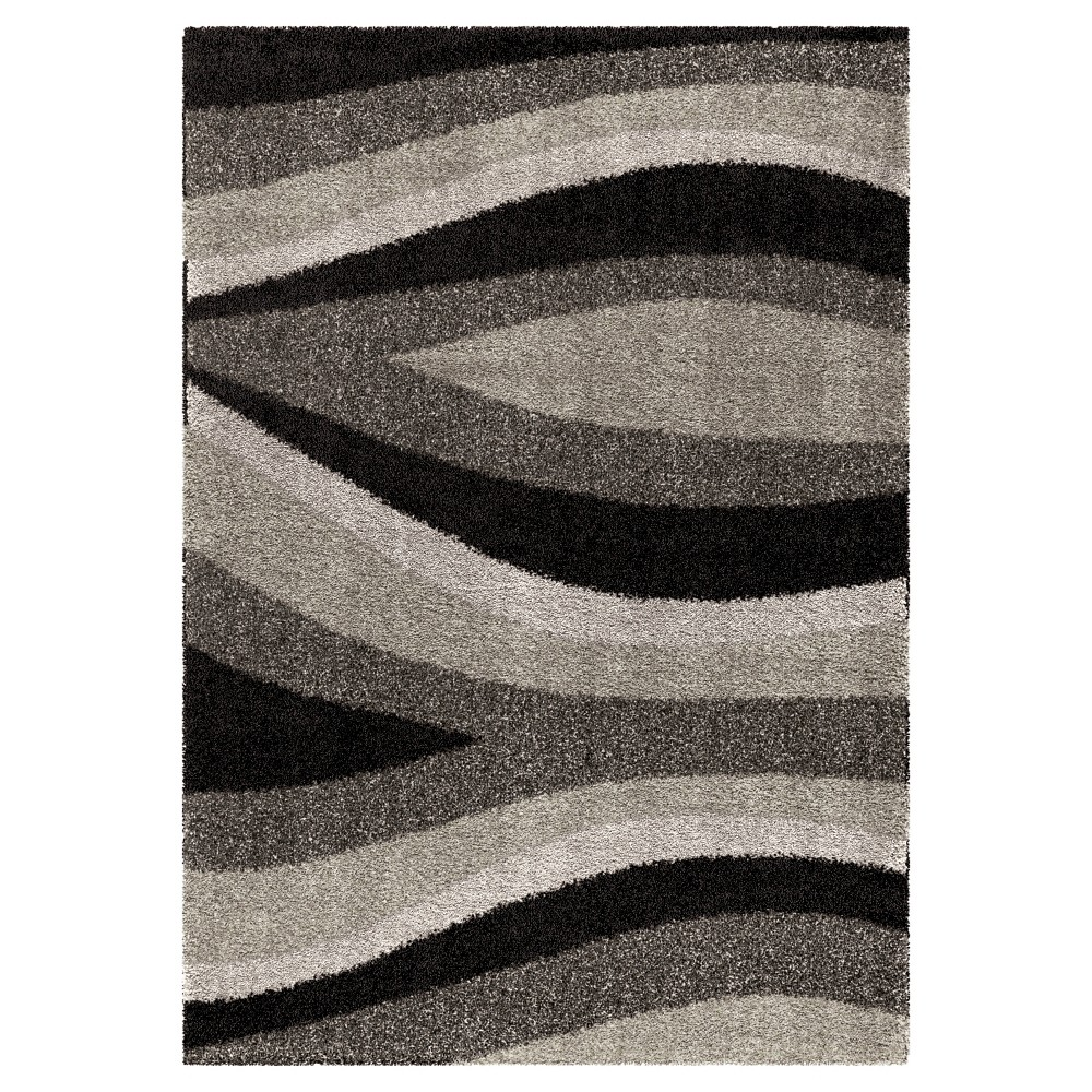 Black Abstract Woven Area Rug - (5'3