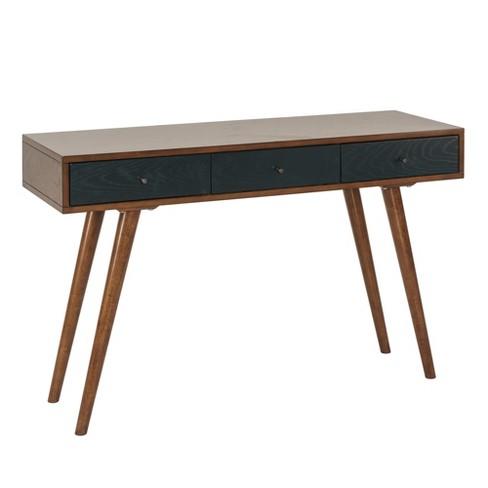 Marion 3 Drawer Writing Desk Pecan Blue