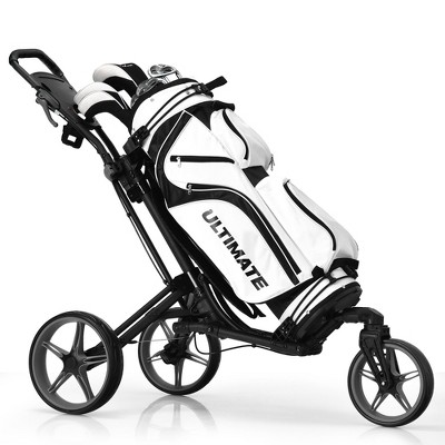 Costway Folding Golf Push Cart Swivel W/Adjustable Handle Grey