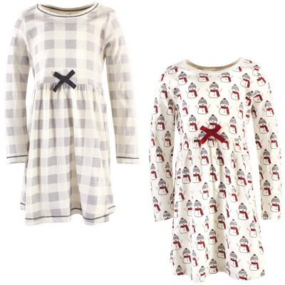 Touched by Nature Big Girls and Youth Organic Cotton Long-Sleeve Dresses 2pk, Snowman