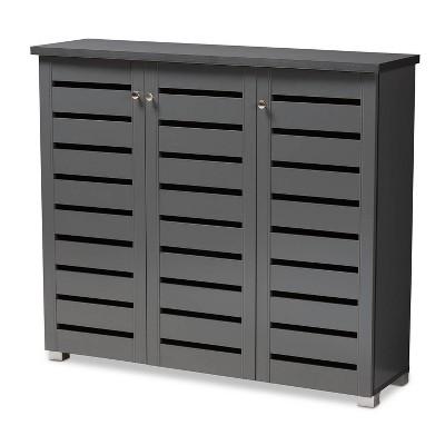3 Door Adalwin Wooden Entryway Shoe Storage Cabinet Gray - Baxton Studio