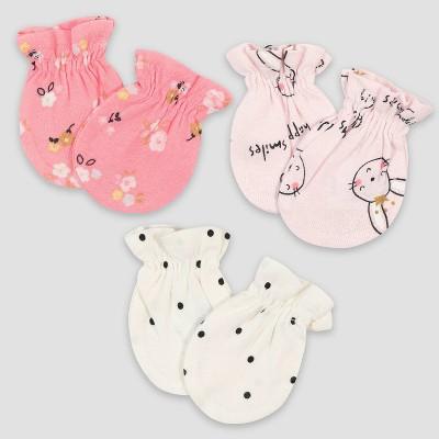 Gerber Baby Girls' 3pk Ballerina Mittens - Pink