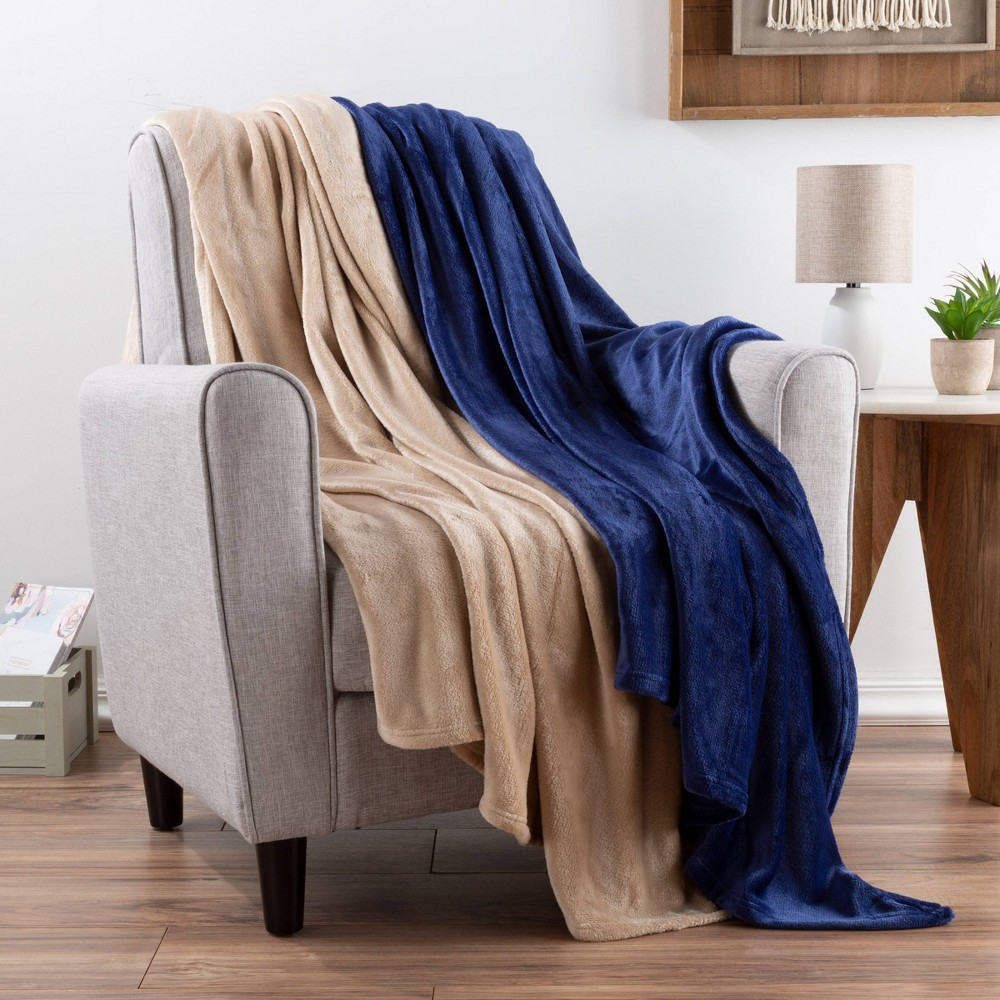 "Image of ""2pk 60""""x50"""" Fleece Throw Blanket Navy Blue/Brown - Yorkshire Home"""