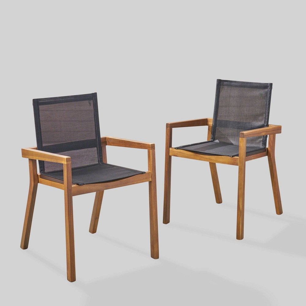 Belfast 2pk Acacia Wood/Mesh Patio Dining Chair - Teak (Brown) - Christopher Knight Home