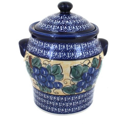 Blue Rose Polish Pottery Grapes Large Canister