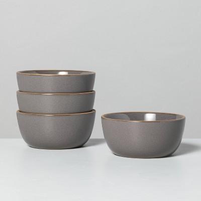 4pk Stoneware Exposed Rim Mini Bowl Set Gray - Hearth & Hand™ with Magnolia
