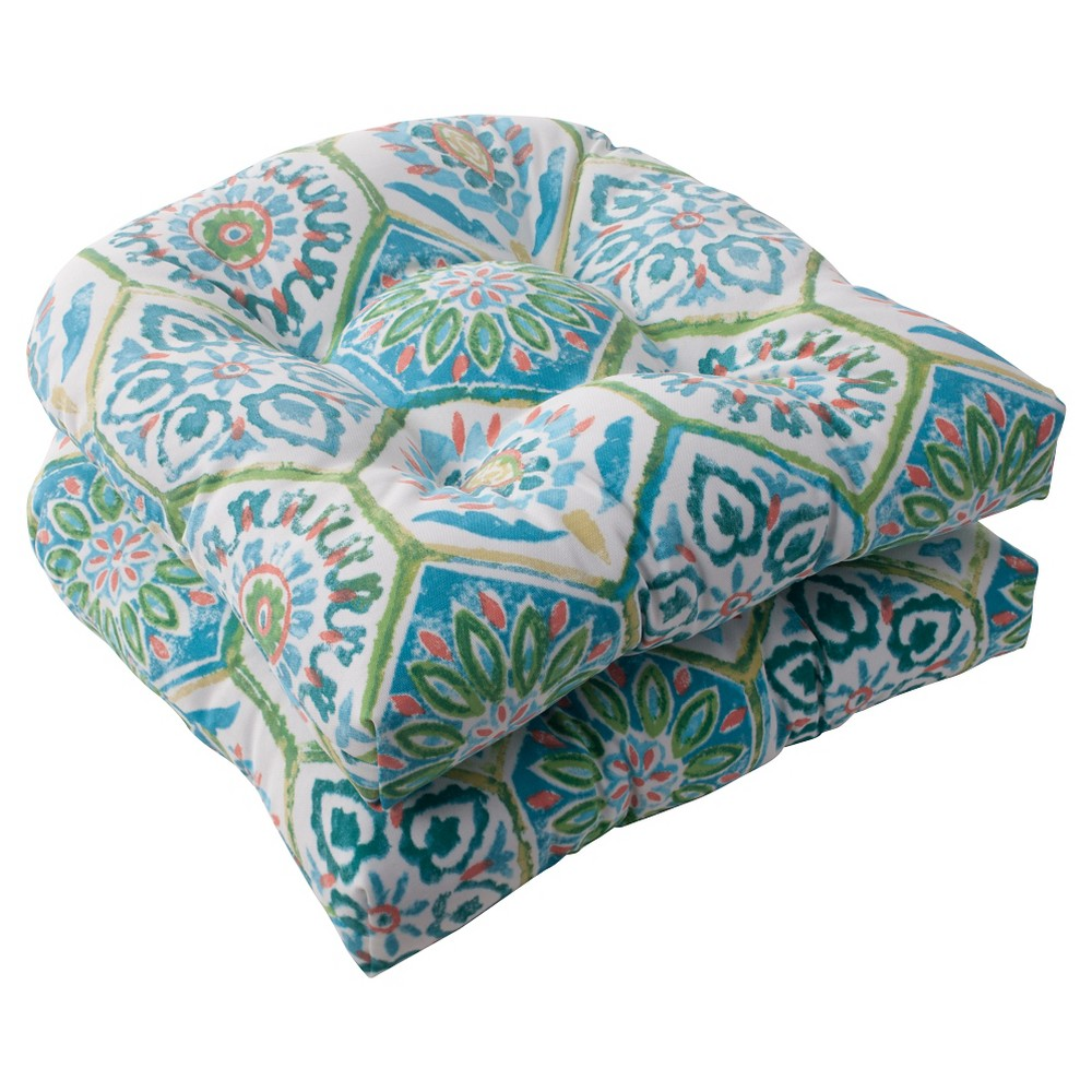 Outdoor 2-Piece Wicker Seat Cushion Set - Turquoise/Coral Medallion, Tq/Crl Med