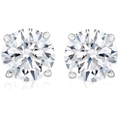 Pompeii3 1 Ct TW Moissanite Studs Available in White or Yellow Gold