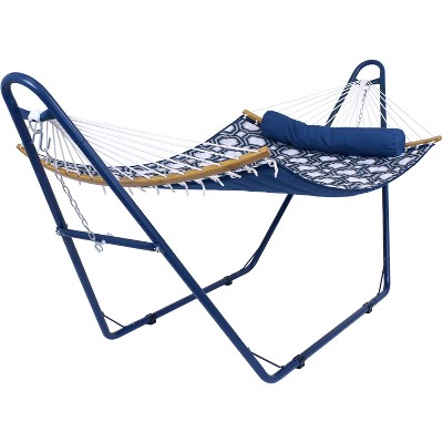 Sunnydaze Outdoor 2-Person Double Polyester Quilted Hammock with Wood Curved Spreader Bar and Matte Blue Steel Stand - Navy and Gray Tiled Octagon