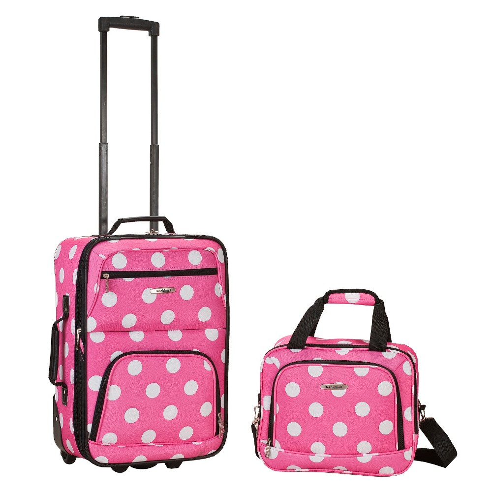 Rockland Rio 2pc Carry On Luggage Set - Pink Dot, Pink/White