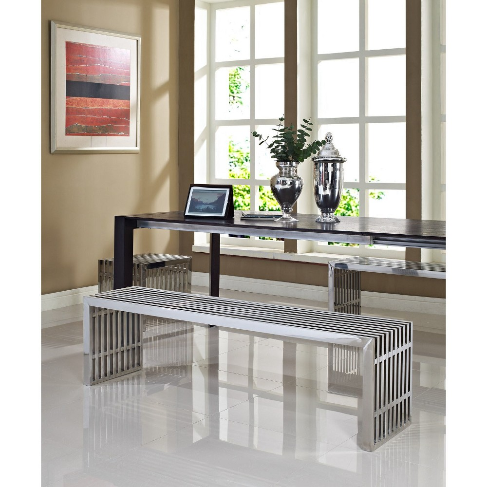 Gridiron Benches Set of 3 Silver - Modway
