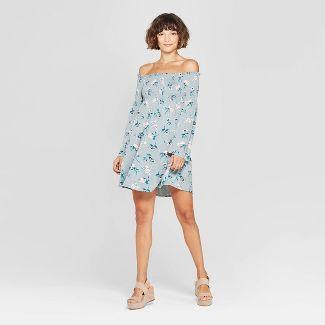 Women's Floral Print Long Sleeve Off the Shoulder Knit Dress - Xhilaration™ Aqua M