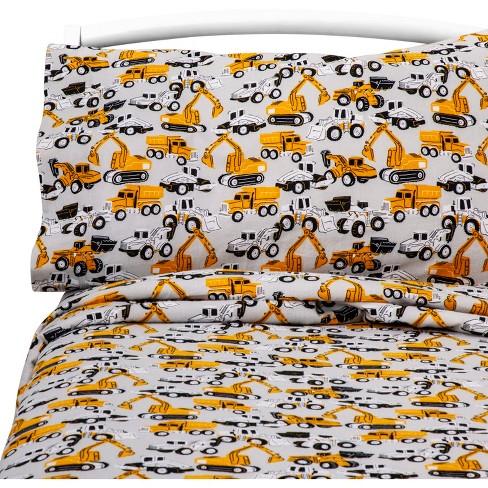 Queen Bulldoze Brigade Flannel Sheet Set - Pillowfort™ - image 1 of 1