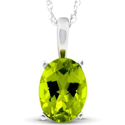 "Pompeii3 2ct Oval Shape Peridot Solitaire Pendant 14K White Gold With 18"" Chain"