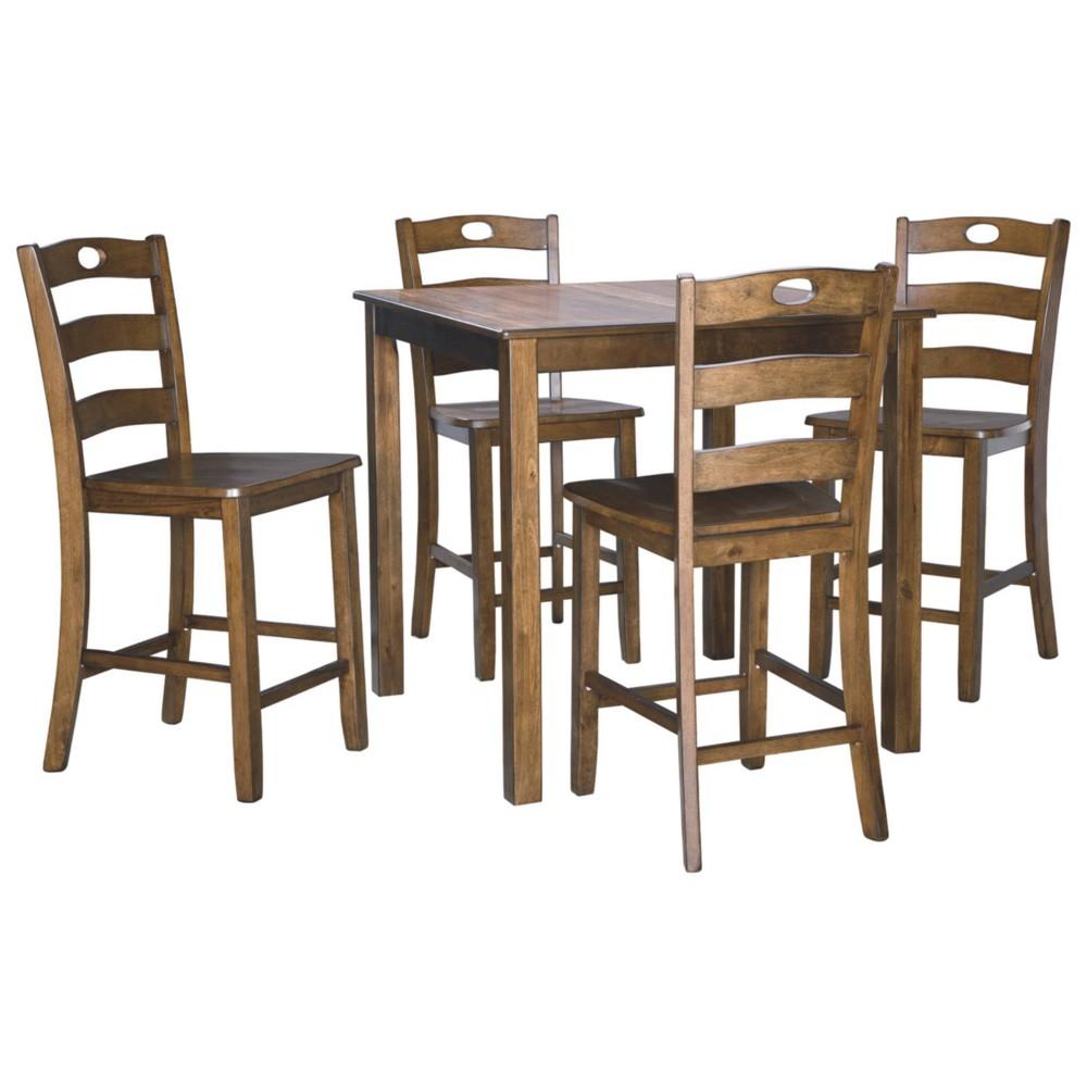 Set of 5 Hazelteen Square Dining Room Table Set Medium Brown - Signature Design by Ashley
