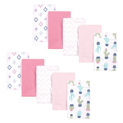 Hudson Baby Infant Girl Cotton Flannel Burp Cloths, Pink Cactus, One Size