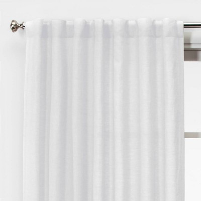 "84""x54"" Linen Light Filtering Window Curtain Panel White - Threshold™"