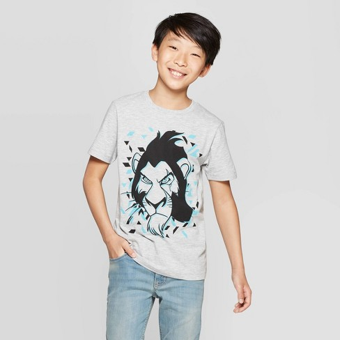 Boys' The Lion King Scar Short Sleeve T-Shirt - Heather Gray - image 1 of 3