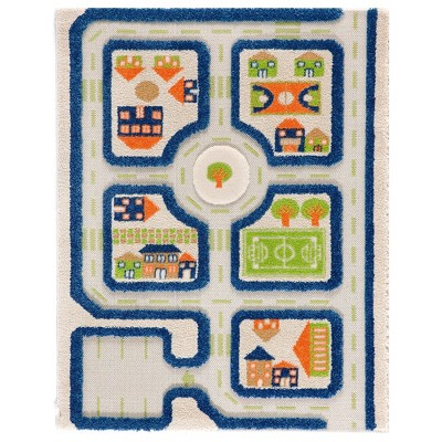 IVI 3D Play Carpets 121MD033MA80120 44.5 x 31.5 Inch Traffic Educational Toddler Mat Rug for Bedroom, Kids Den, or Playroom, Small