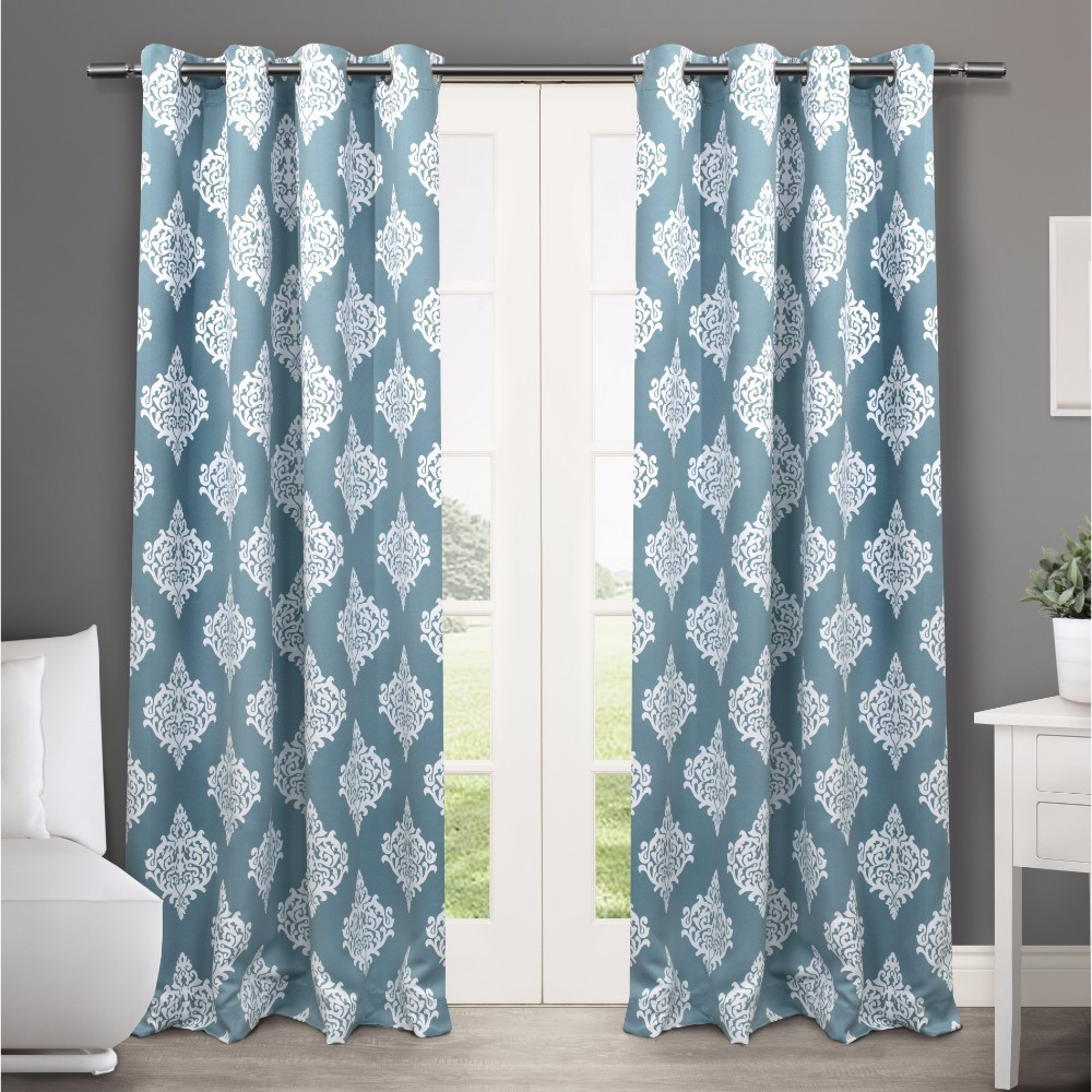 Set of 2 / Pair Medallion Blackout Thermal Grommet Top Window Curtain Panels Teal (Blue) (52