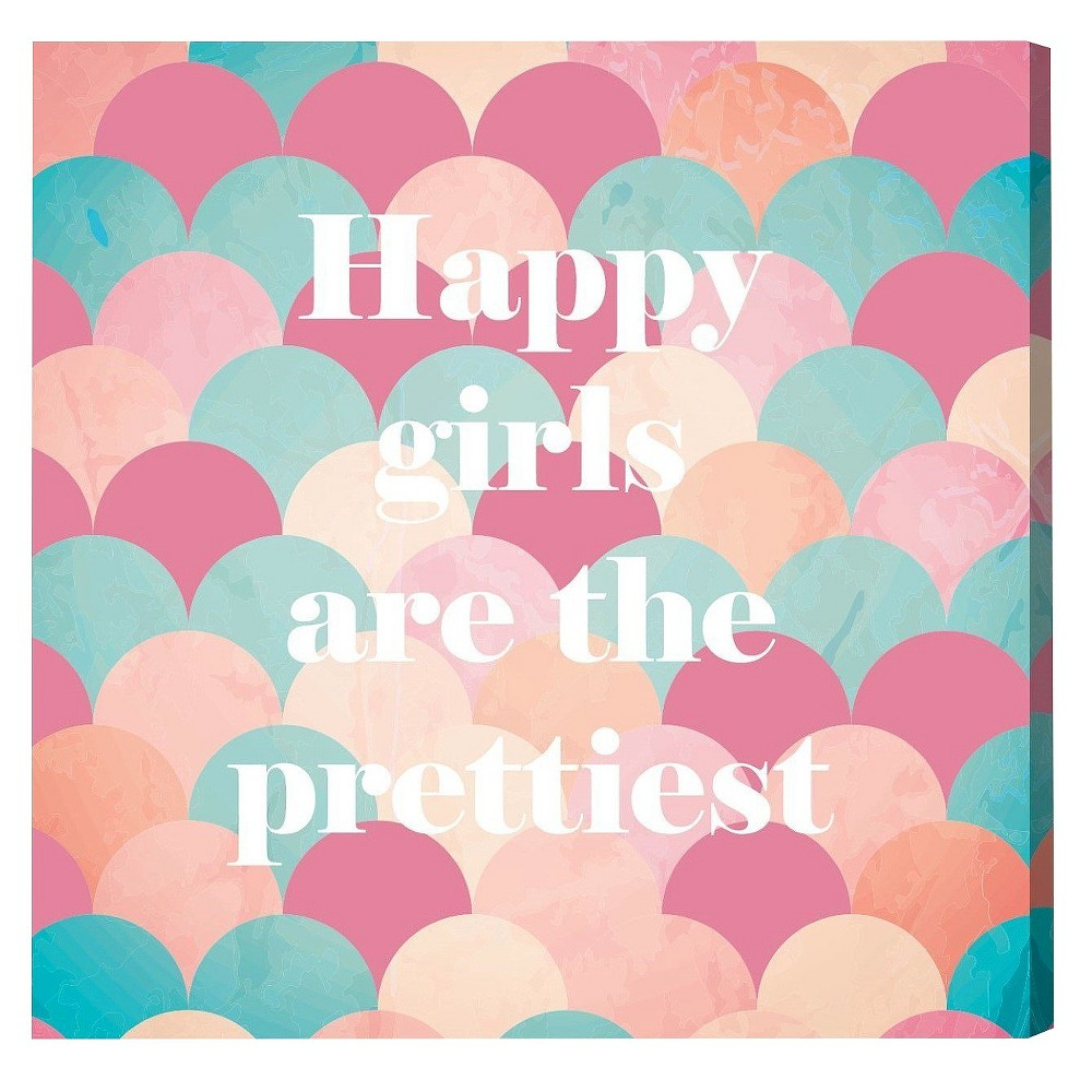 """Image of """"Oliver Gal Unframed Wall """"""""Happy Girls"""""""" Canvas Art (20x20), Multicolored"""""""