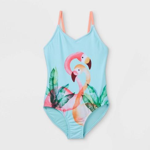 Girls' Flamingo Print One Piece Swimsuit - Cat & Jack™ Aqua - image 1 of 2