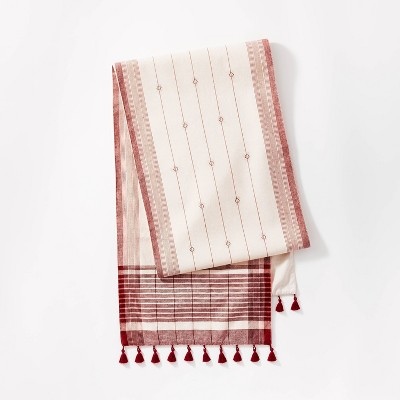 """14"""" x 88"""" Table Runner Cotton Jacquard Red - Threshold™ designed with Studio McGee"""