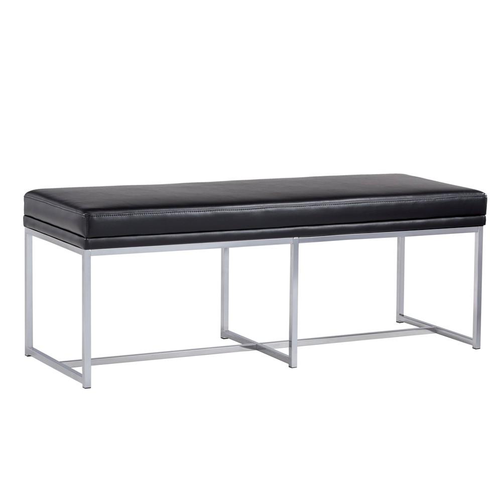 Inspire Q Vexa Chrome Base Bench Leather Black