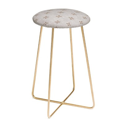 Little Arrow Design Co Mud Cloth Cross Stone Rustic Counter Height Barstool - Deny Designs