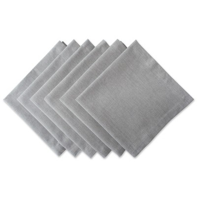 Set of 6 Solid Chambray Napkins Gray - Design Imports
