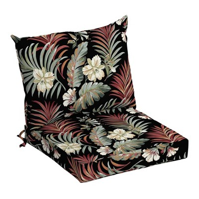 Arden Selections Outdoor Dining Chair Cushion Set Black Simone Tropical