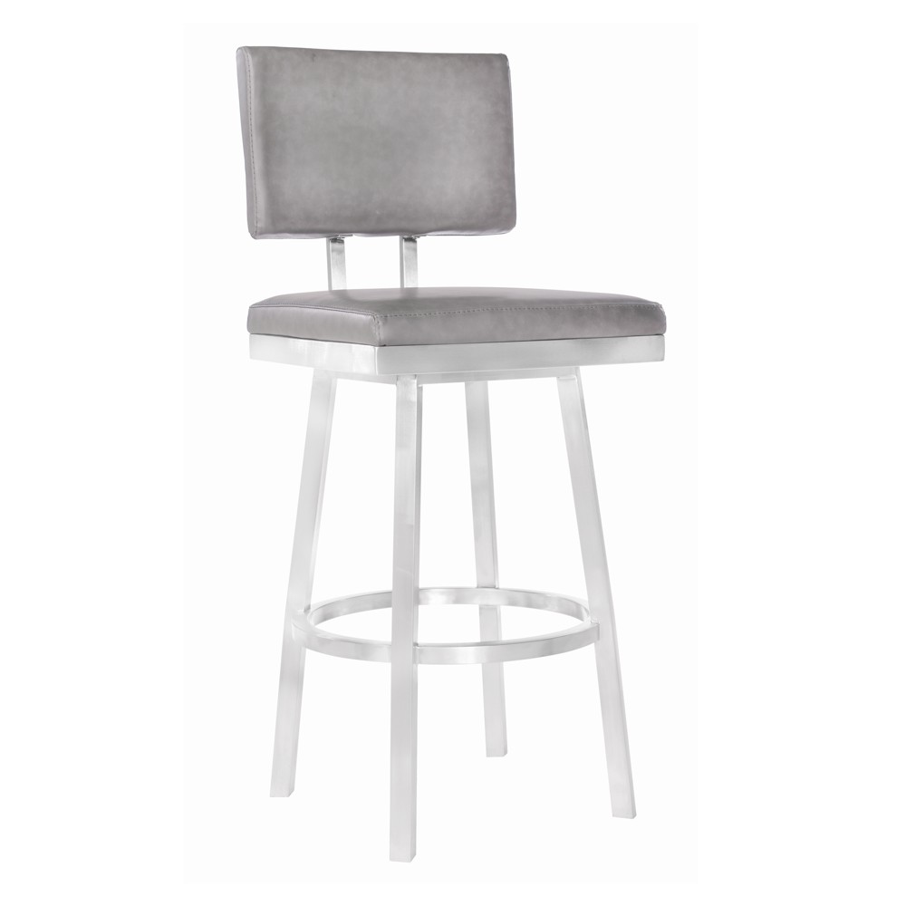 "Image of ""26"""" Armen Living Balboa Counter Height Barstool Vintage Gray, Vintage Gray Faux"""