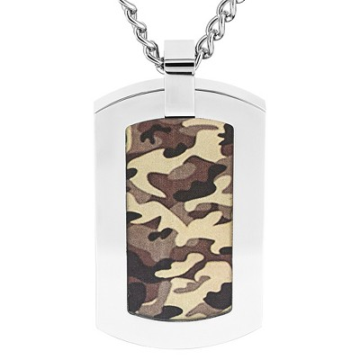 Men's Crucible Stainless Steel Camouflage Dog Tag Pendant Necklace - Brown