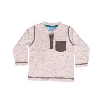 Sammy & Jake Infant Textured Eco Friendly Long Sleeve Henley Tee White