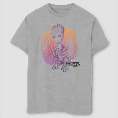 Boys' Marvel Groot Watercolor Short Sleeve T-Shirt- Athletic Heather