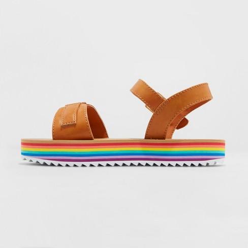 98bd6f1885cf Girls  Valeria Rainbow Platform Sandals - Cat   Jack™ Cognac 3   Target
