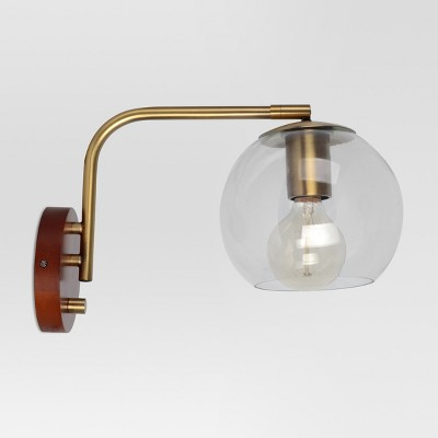 Madrot Glass Globe Wall Light Brass Includes Energy Efficient Light Bulb - Project 62™