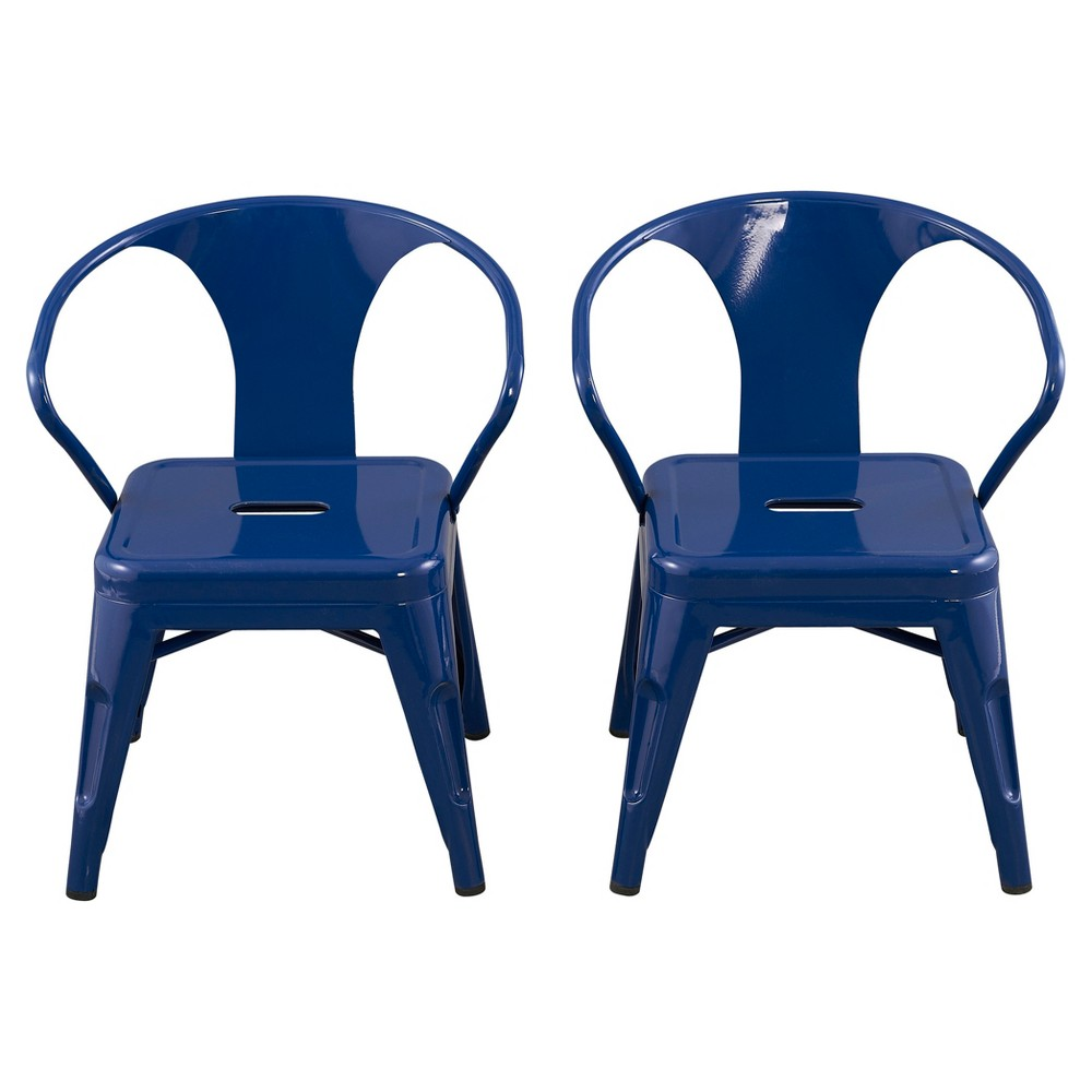 Image of Metal Kids Chair (Set of 2) - Navy- Reservation Seating, Blue
