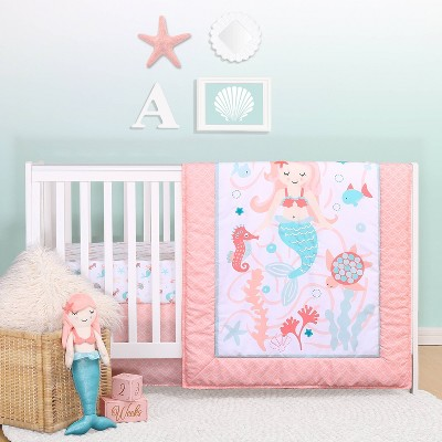 PS by The Peanutshell Mermaid Kisses Microfiber Crib Bedding Set - 3pc