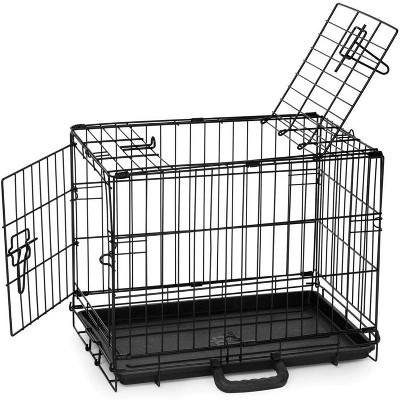 Petmate Indoor & Outdoor 19 Inch Double Door Training Retreat Steel Wire Frame Kennel Dog Crate For Animals Less Than 15 Pounds, Black