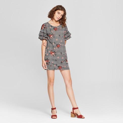 a8ea14563b46 Women s Floral Print Ruffle Short Sleeve Knit Dress - Love   First Sight  (Juniors ) Gray