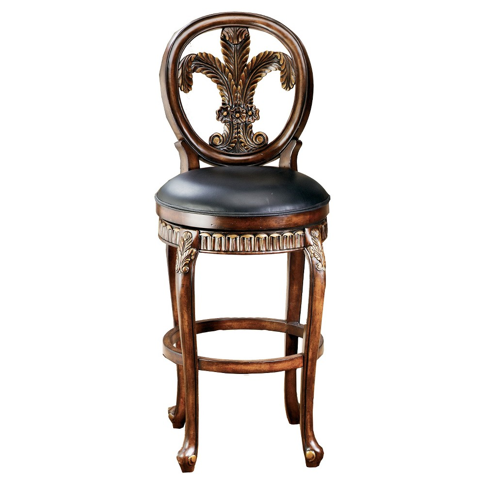 26 Fleur de Lis Counter Stool Wood/Cherry (Red) - Hillsdale Furniture The Hillsdale Furniture Fleur de Lis Swivel Counter Height Stool is inspired by the grandeur of the Baroque era. It features cabriole legs with embellished feet and intricate fleur-de-lis carvings at the leg capitals, all with Gold-tinged highlights. The swivel seat is upholstered with real Black leather. In the balloon back is an ornately carved fleur-de-lis inset that completes the motif. A convenient footrest rounds out the concept, providing stability and comfort. Add panache to your kitchen island or counter height dining table with the luxurious Hillsdale Furniture Fleur de Lis Swivel Counter Height Stool. Assembly required. Color: Cherry. Gender: Unisex. Age Group: Adult.