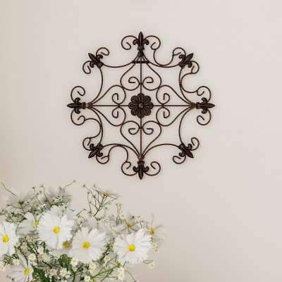 "14.25"" Square Open Edge Medallion Metal Wall Art Almost Black - Lavish Home"